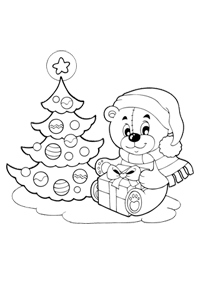 Bear with tree - Christmas Coloring Book