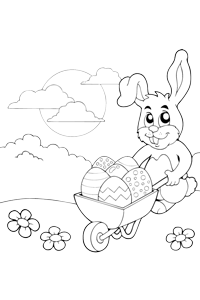 Easter Bunny Wheelbarrow - Easter Egg Coloring Book