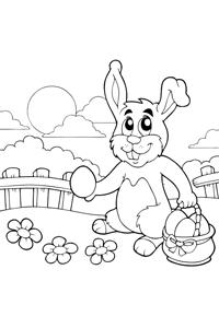Easter Bunny Baskett - Easter Egg Coloring Book