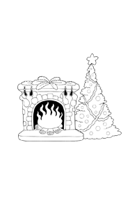 Tree with Fireplace - Christmas Coloring Book