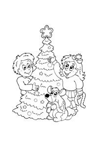 Decorating Tree - Christmas Coloring Book