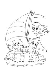 Sail boat - Ocean Coloring Book