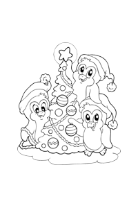 Penguins Decoratin - Christmas Coloring Book