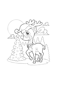 Rudolph with Hat - Christmas Coloring Book