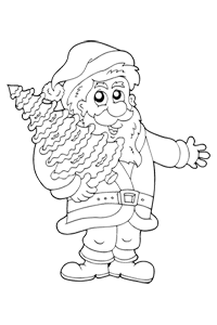 Santa with a tree - Christmas Coloring Book