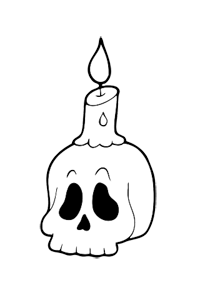 Skull and Candle - Halloween Coloring Book
