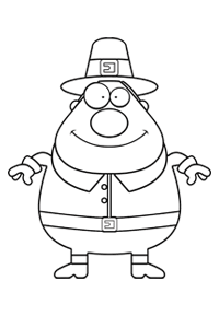Fat and Happy Pilgrim - Thanksgiving Coloring Book