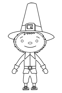 Young Boy Pilgrim - Thanksgiving Coloring Book