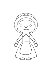 Young Girl Pilgrim - Thanksgiving Coloring Book
