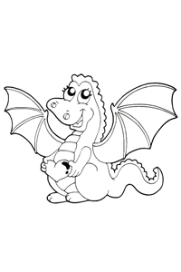 Valentines Dragon - Valentines Coloring Book