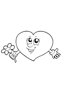Heart Holding a Flower - Valentines Coloring Book