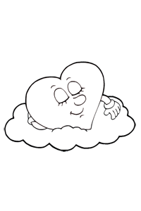Heart Sleeping on Cloud - Valentines Coloring Book