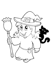 Witch and Cat - Halloween Coloring Book